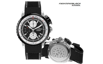 Thunderbirds Fighting Black Chrono silicon barcelet
